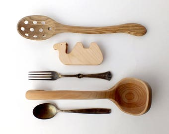 Spoon Holder - Wood Spoon Rest - Spoon Stand