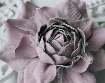 Pale Lilac Leather Rose Flower Brooch