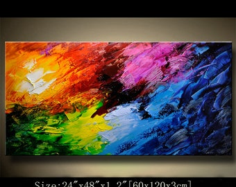 Abstract Wall Painting, expressionism Textured Painting,Impasto Landscape Painting  ,Palette Knife Painting on Canvas by Chen 0722