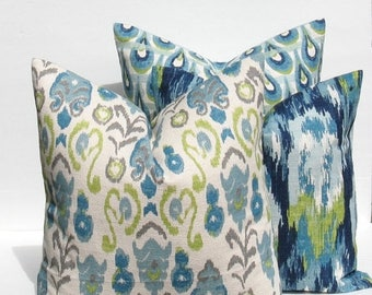 15% Off Sale Decorative Throw Pillows Throw Pillow Covers 18x18 THREE Blue Green Pillow Burlap Pillow Ikat Pillow Printed fabric both sides