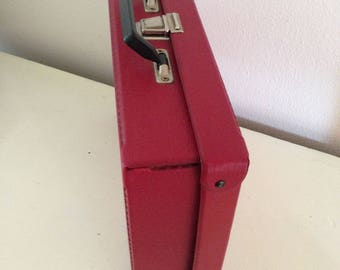 Small vintage storage suitcase red suitcase hipster suitcase storage casettes
