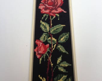 Vintage embroidered roses picture wall decoration framed embroidery flowery picture