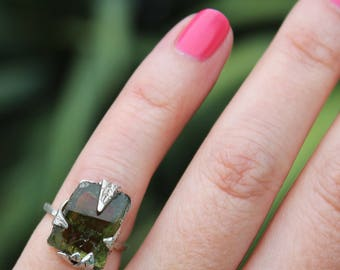 tourmaline ring, green tourmaline, leaf ring, sterling silver, silver ring, recycled silver, palm leaf, tourmaline crystal