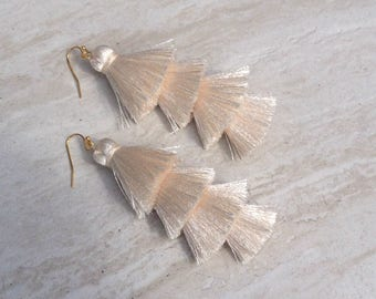 """Cha Cha Tiered Silk Tassel Earrings, Stacked Tassle Earrings, Fringe Tassel Earrings, Summer Earrings, Colorful, Trendy,Lightweight 3"""" Drop"""