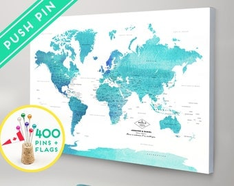 Custom Push Pin World Map CANVAS - Watercolor Blue Countries  - World Map with Pins Ready to hang - Gift for Couple