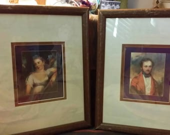 Vintage Matted and Framed Lady and Gentleman Prints Jane Austen Set of Two