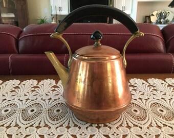 Tea Kettle, Copper Tea Kettle, Rustic, Kitchen Kettle, Aged Copper, Kitchen Decor, Tea Kettle, Dining and Serving, Home Decor