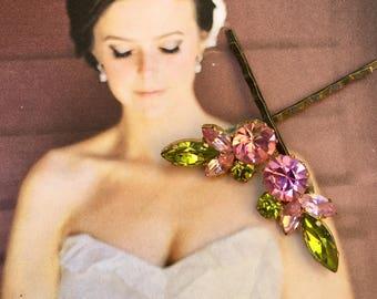 Pink Green Juliana Decorative Hair Pins Jewelry Austrian Rhinestone Hair Bobby Pins