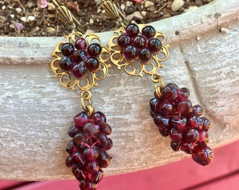 Reign Red Garnet Grape Bridal Earrings Vintage 1930 1940 Art Deco Nouveau Czech Glass Wedding Jewelry