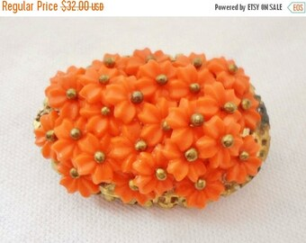 ON SALE Vintage Orange Lucite Cluster Flowers Oval Brooch, Goldtone, Very Old, Daisies, Collectible Jewelry, Pin, Bridal Brooch Bouquet