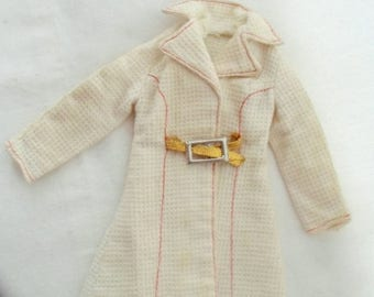 ON SALE Vintage 1972 Barbie White N' With It Coat #3352, Collectible Barbie Clothes, White Coat, Doll Clothes