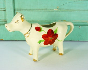 Vintage Ceramic Cow Creamer with Red Flowers and Gold Trim