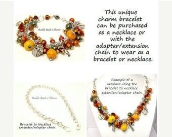 Sale Fall Charm Necklace, Fall Charm Bracelet,  Fall Jewelry, Autumn Beaded Charm Bracelet Jewelry, Fall Autumn Necklace
