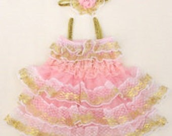 Pink White and Gold Tutu Ruffle Party Dress Tulle and lace Party Birthday Outfit with Headband