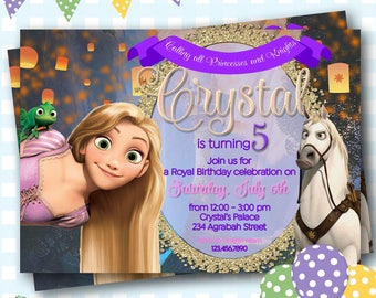 Tangled Invitation, Rapunzel Invite, Rapunzel Birthday Invitation, Princess Rapunzel Birthday Party, Tangled Birthday Invite - P421