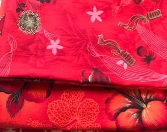 Aloha! Three lovely vintage Hawaiian print fabrics...ready to be made into something beautiful!
