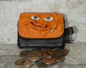 Coin Purse Zippered Change Purse Orange Black Leather Monster Face Pouch Key Ring Harry Potter Labyrinth 34