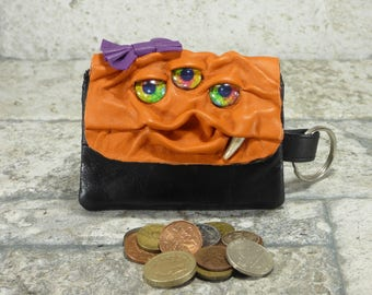 Leather Zippered Coin Purse Black Orange Change Purse Monster Face Pouch Key Ring Harry Potter Labyrinth