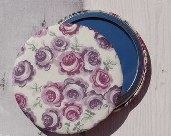 Liberty Fabric Covered Pocket Mirror Kasia Purple