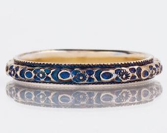 "Antique Wedding Band - Antique 18k Two-Tone ""JR Woods"" Engraved Blue Patina Wedding Band"