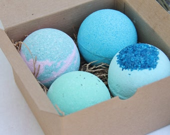 Bath Bomb Gift Set of 4, Valentines Day Gifts, Christmas Gifts, Birthday gifts, Party favors, Bridesmaids Gifts, Spa gift set, Kids Party