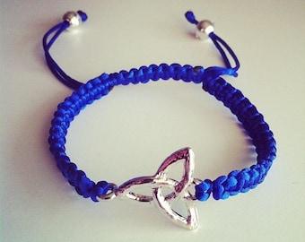 Adjustable Shamballa bracelet blue sign breton Celtic Monad