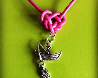 Navy leather knot necklace Celtic fisherman boat pendant