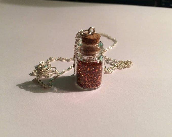 Silver vial chain coppery orange holographic glitter
