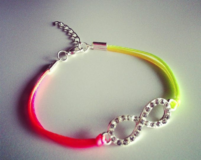 Multicolored neon cord with sign bracelet infinity strass