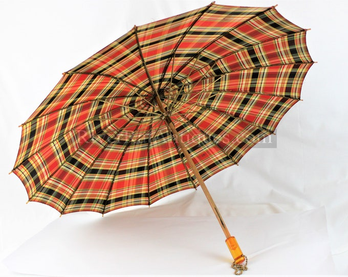 Vintage 1950s Plaid Umbrella with Lucite Handle  and Brass Hardware