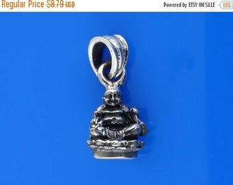 ON SALE Small Sterling Silver Buddha Charm Necklace Solid Silver 925