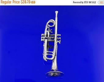 ON SALE Sterling Silver Trumpet Pendant, Free Shipping