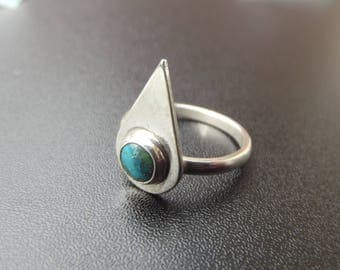 sterling silver 6mm Turquoise teardrop setting gemstone ring