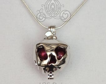 Poison Apple Pearl Cage Locket Charm Pendant Necklace Snow White Witch Apple Multiple Pearl Holder