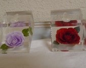Two Vintage 1950's Lucite Pen or Pencil Holders! Gorgeous Roses