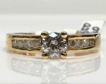 Handmade Antique Diamond Engagement Ring in 14K Gold