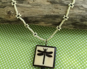 Dragonfly Necklace Garden Bead Necklace Dragonfly Pendant Beaded Dragonfly Garden Necklace Black White Necklace Dragonfly Jewelry
