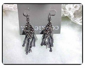 Vintage Rhinestone Earrings - Cookie Lee Dangling Diamond Shape Earrings w/ Black and Silver Dangling Chain's  E-6022a-063017008