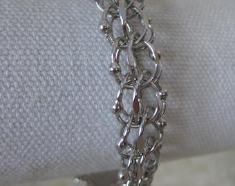 Charm Bracelet Sterling Cage Vintage Chain Link Silver