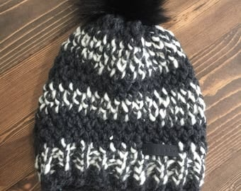 Black and White Wool Blend Pom Hat