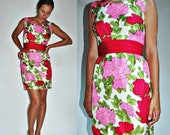 THE SUPER SALE sale 1960s Silk Pink Red Floral Wiggle Mini Dress