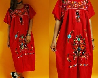 1980s Red Mexican Hand Embroidered Floral Sun Dress