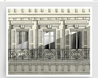 30% OFF SALE: Paris balcony - Paris illustration Art Home decor Wall decor Wall art Print Poster Drawing Modern Architectural drawing Grey F