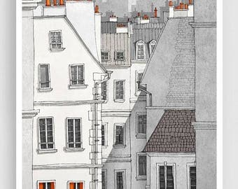 30% OFF SALE: Paris illustration - Rue Sainte Croix - Illustration Giclee Fine Art Print Paris Prints Posters Home Decor Architectural Drawi