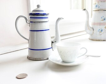 Very Rare Single Serve Antique French Coffee Pot, Enamelware Cafetière by renowned BB Frères, Austria, c. 1900, White with Blue Stripes