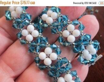 FF Sale - Beaded Bracelet, Handmade with Swarovski Crystal Indicolite & White Mountain Jade Stone Beads, JBB Silver-Plated Pewter Clasp