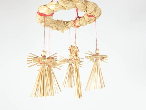 Vintage Christmas Ornaments, straw angels