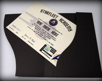 Star Trek Starfleet Academy Certificate in a Luxury Presentation Folder - Personalised with the name of your choice