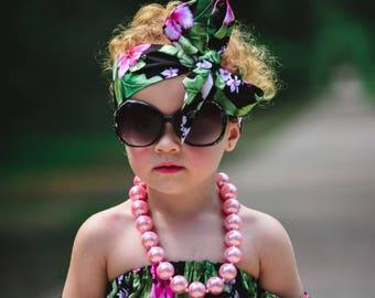 Tropical Hawaiian Floral Headwrap headband Baby Tie Up Headwrap Big Bow Head Wrap Turban Headwrap Fabric Headband Headwrap