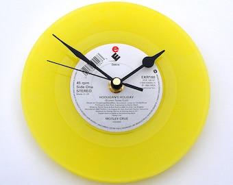 "MOTLEY CRUE Clock "" Hooligan's Holiday"" A recycled Bright YELLOW 7"" record. 1980s heavy metal rock gift for men women graduation"